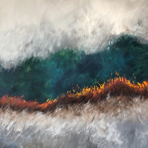 (CreativeWork) Wildfire by Annie Hawkins. oil-painting. Shop online at Bluethumb.