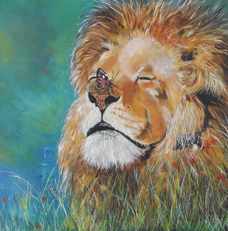 (CreativeWork) A Lion and the Butterfly by Julie Hollis. arcylic-painting. Shop online at Bluethumb.