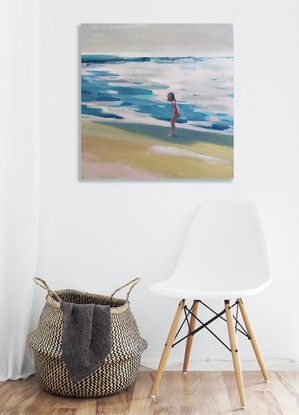 (CreativeWork) Wave chaser by Sarah Simpson. Acrylic Paint. Shop online at Bluethumb.
