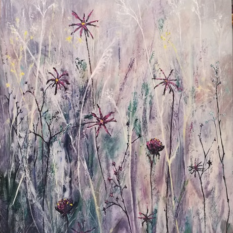 (CreativeWork) Summer Meadow by L E Glyde. Oil Paint. Shop online at Bluethumb.
