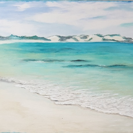 (CreativeWork) Sandy Bay by Sandy Barbara. Oil Paint. Shop online at Bluethumb.