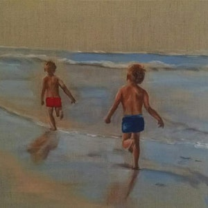 (CreativeWork) kids running at the beach by Kylie van Tol. arcylic-painting. Shop online at Bluethumb.
