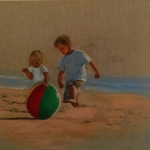 (CreativeWork) Kids with beach ball by Kylie van Tol. arcylic-painting. Shop online at Bluethumb.