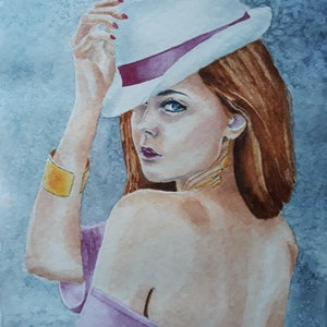 (CreativeWork) Lady in hat-4 by Svetlana Cook. watercolour. Shop online at Bluethumb.