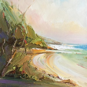 (CreativeWork) Secluded beach by Liliana Gigovic. oil-painting. Shop online at Bluethumb.