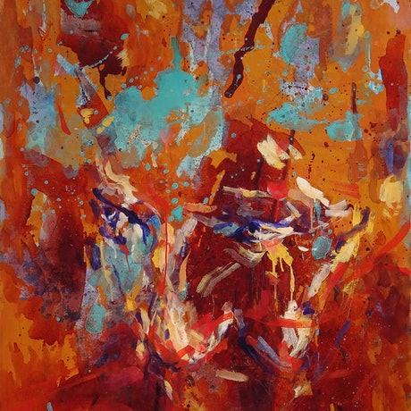 (CreativeWork) Burning Pool by Nicholas Robinson. Oil Paint. Shop online at Bluethumb.