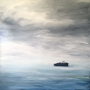 (CreativeWork) All At Sea by Siobhan Kelley. oil-painting. Shop online at Bluethumb.
