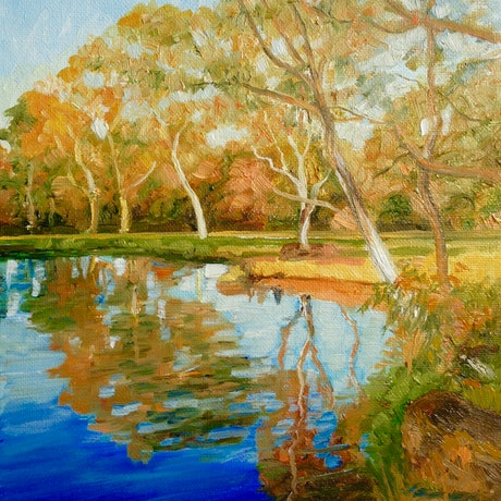 (CreativeWork) Afternoon in the Darebin Wetlands by Dai Wynn. Oil Paint. Shop online at Bluethumb.