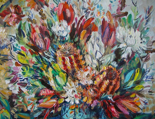 (CreativeWork) Paper Daisies by Katerina Apale. Oil Paint. Shop online at Bluethumb.