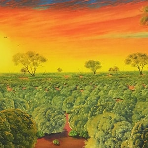 (CreativeWork) Waiting For Roos by David O'Halloran. oil-painting. Shop online at Bluethumb.