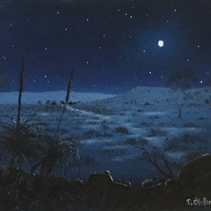 (CreativeWork) Grasstrees By Moonlight by David O'Halloran. oil-painting. Shop online at Bluethumb.