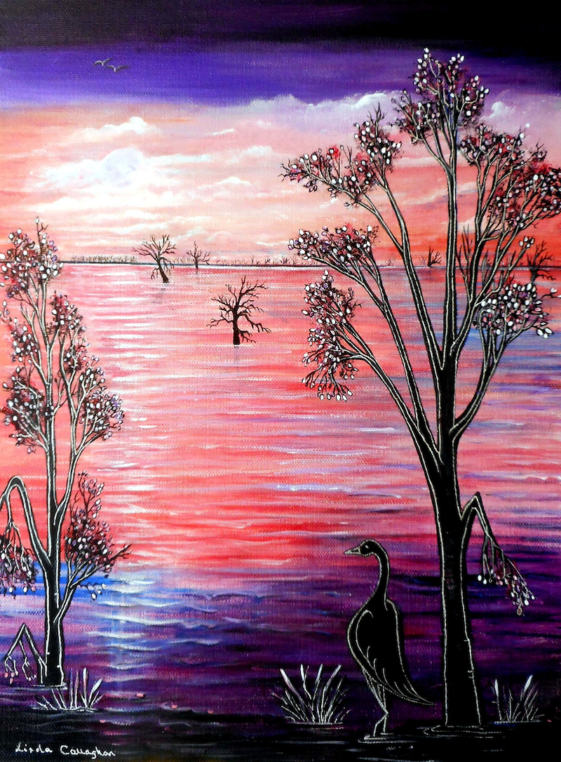 (CreativeWork) Purple Moon by Linda Callaghan. acrylic-painting. Shop online at Bluethumb.