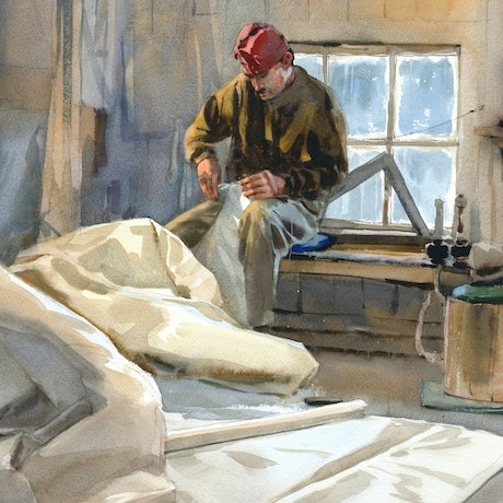 (CreativeWork) Winter repairs by Mike Kowalski. Watercolour Paint. Shop online at Bluethumb.