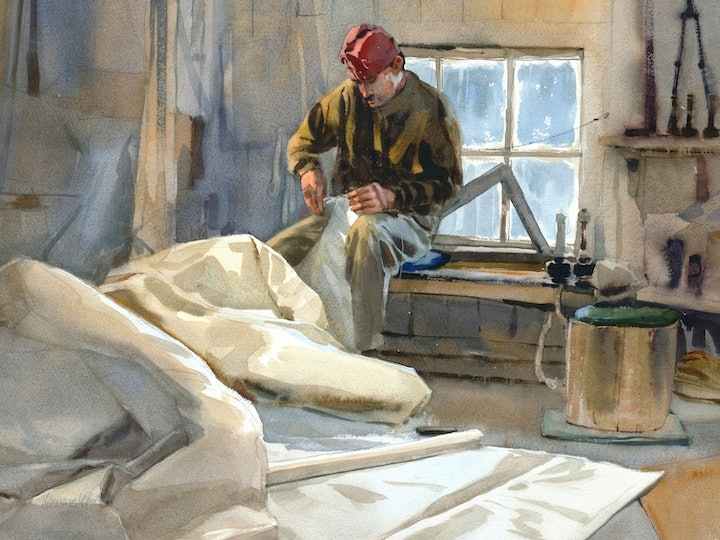 (CreativeWork) Winter repairs by Mike Kowalski. watercolour. Shop online at Bluethumb.