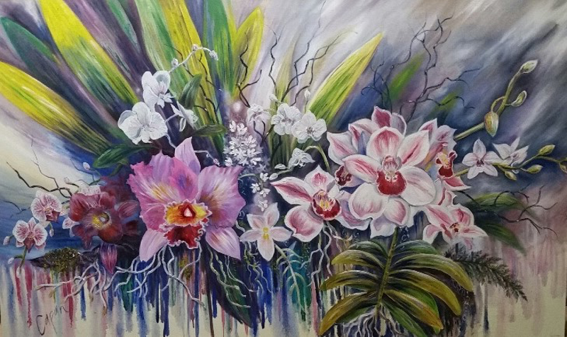 (CreativeWork) ''Orchid Mania'' by Susan Capan. oil-painting. Shop online at Bluethumb.
