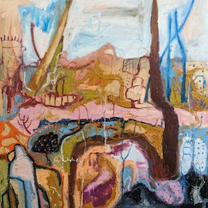 (CreativeWork) Babble of the Brook by Marinka Parnham. oil-painting. Shop online at Bluethumb.
