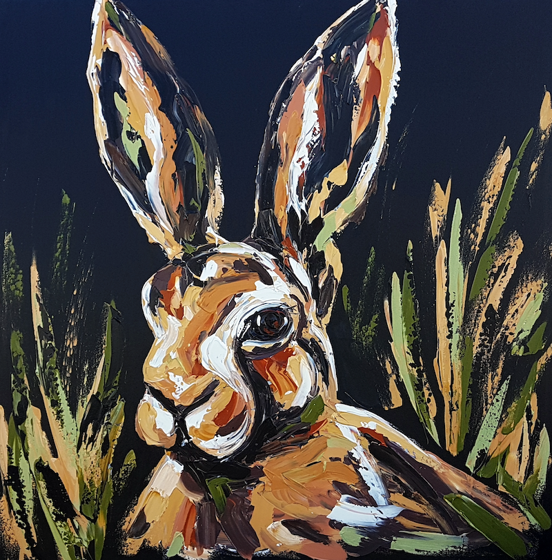 (CreativeWork) Hare I am  by Lisa Fahey. arcylic-painting. Shop online at Bluethumb.