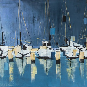 (CreativeWork) Hasting Marina by Rosa d'Argent. arcylic-painting. Shop online at Bluethumb.