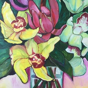 (CreativeWork) Orchids in Vase by Natasha Ruffio. arcylic-painting. Shop online at Bluethumb.