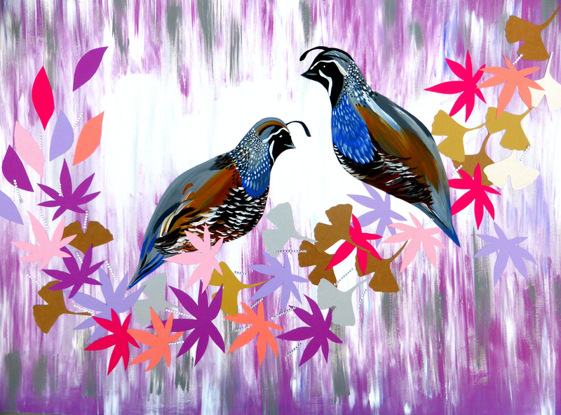 (CreativeWork) Quail Collage with Japanese Maple Leaves by Cathy Snow. arcylic-painting. Shop online at Bluethumb.