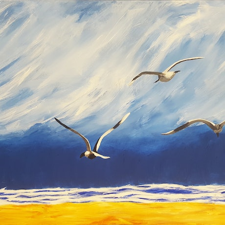 (CreativeWork) Stormy Gulls by Kathryn Gruber. Acrylic Paint. Shop online at Bluethumb.