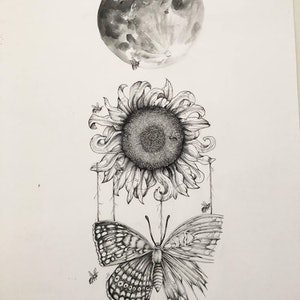 (CreativeWork) Sunflower by Amelia Ludlam. drawing. Shop online at Bluethumb.