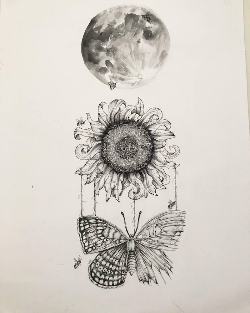 f34240215 (CreativeWork) Sunflower by Amelia Ludlam. drawing. Shop online at  Bluethumb.