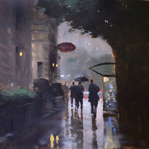 (CreativeWork) Town Hall Bus Stop by Mike Barr. arcylic-painting. Shop online at Bluethumb.