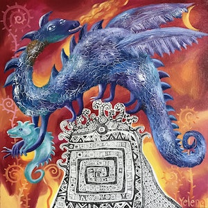 (CreativeWork) Year of the Dragon by Yelena Revis. oil-painting. Shop online at Bluethumb.