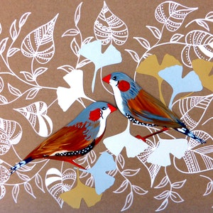 (CreativeWork) Zebra Finch Collage by Cathy Snow. arcylic-painting. Shop online at Bluethumb.