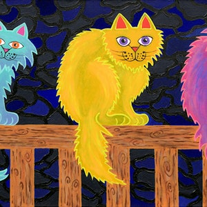 (CreativeWork) The Fence Cats by Lisa Frances Judd. arcylic-painting. Shop online at Bluethumb.