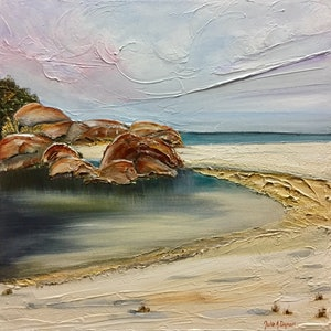 (CreativeWork) Beach Lagoon by Julie Dynan. arcylic-painting. Shop online at Bluethumb.