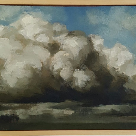 (CreativeWork) Cloudscape VIII by Racquel Cavallaro. Oil Paint. Shop online at Bluethumb.