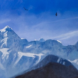 (CreativeWork) Himalayan morning by John Barcham. oil-painting. Shop online at Bluethumb.