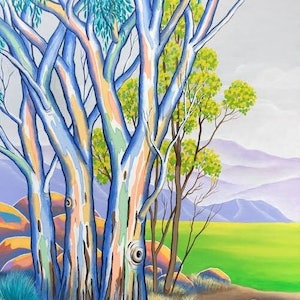 (CreativeWork) THE GREYING  BUSH SKY 3 by Saadah Kent. arcylic-painting. Shop online at Bluethumb.