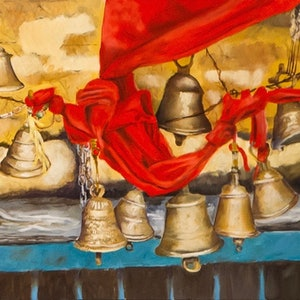 (CreativeWork) Temple Bells, Nanda Devi region, Indian Himalaya  by John Barcham. oil-painting. Shop online at Bluethumb.