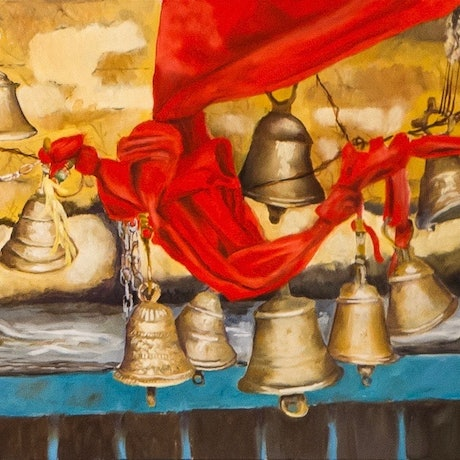 (CreativeWork) Temple Bells, Nanda Devi region, Indian Himalaya  by John Barcham. Oil Paint. Shop online at Bluethumb.