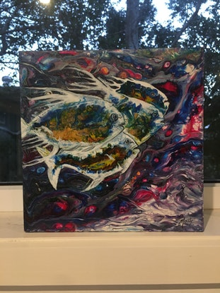 (CreativeWork) Go Fish by Marty Foster. Acrylic Paint. Shop online at Bluethumb.