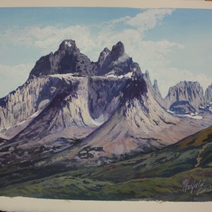 (CreativeWork) TORRES DEL PAINE NATIONAL PARK-STUDY by Margaret HADFIELD. watercolour. Shop online at Bluethumb.