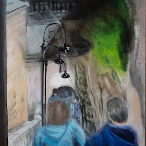 (CreativeWork) Argyle Stairs Saturday Night  by Rodney Black. arcylic-painting. Shop online at Bluethumb.