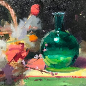 (CreativeWork) The Green Vase by Ray Wilson. oil-painting. Shop online at Bluethumb.