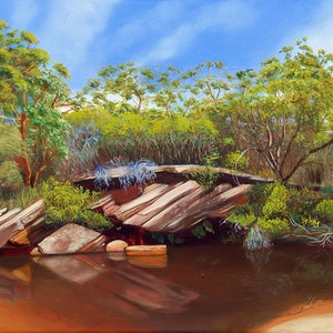 (CreativeWork) Deer Pool by Kim Leutwyler. oil-painting. Shop online at Bluethumb.