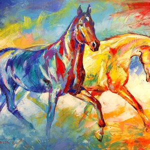 (CreativeWork) Two Horses by Jos Coufreur. arcylic-painting. Shop online at Bluethumb.