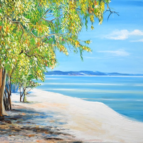 (CreativeWork) Elim Beach, Queensland by Emilia Rebelo. Oil Paint. Shop online at Bluethumb.