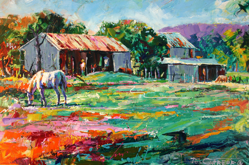 (CreativeWork) Old Sheds by Jos Coufreur. arcylic-painting. Shop online at Bluethumb.
