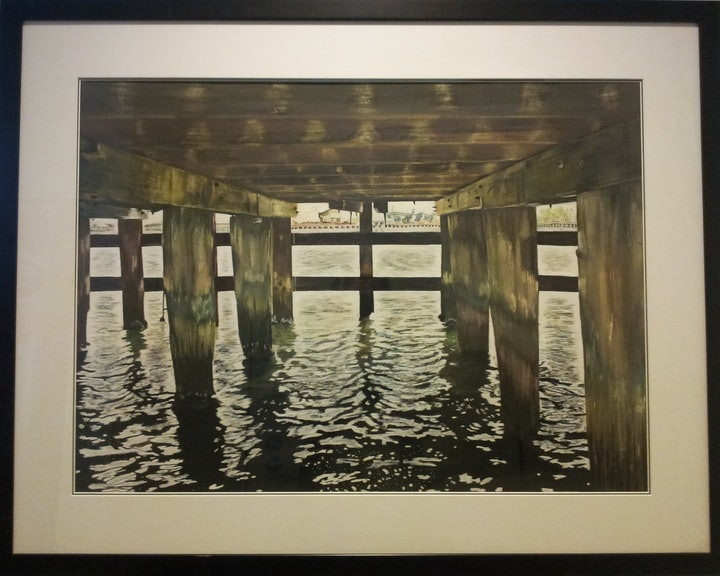 (CreativeWork) Pier Pressure by Audrey Attwell. mixed-media. Shop online at Bluethumb.