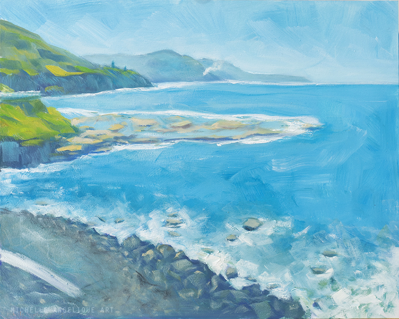 (CreativeWork) Seacliff Bridge by Michelle Angelique. oil-painting. Shop online at Bluethumb.
