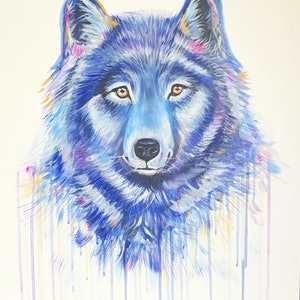 (CreativeWork) Wolf  by Lisa Carman. arcylic-painting. Shop online at Bluethumb.