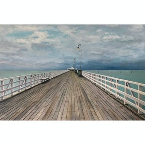 (CreativeWork) storm  over  shorncliffe  pier by Jane Mathers. oil-painting. Shop online at Bluethumb.