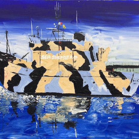 (CreativeWork) Sea Shepherd, Warrior of the Ocean by Patrick Brady. Acrylic Paint. Shop online at Bluethumb.
